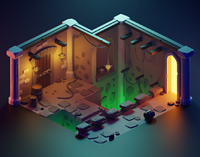 3D asset Low Poly Isometric - Dungeon