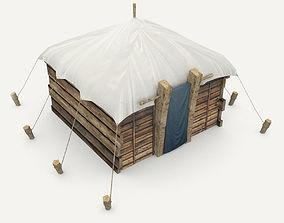 Medieval wooden hut 3D asset