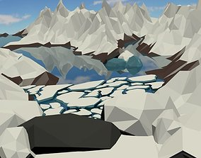 Ice shelf floating low poly 3D asset game-ready