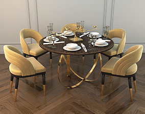 3D Modern Dining Table and Chair 2