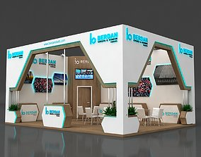 Exhibition Stall 8x6m Height 400 cm 2 Side Open 3D model