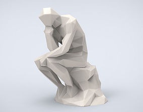 Printable The Thinker Lowpoly Style