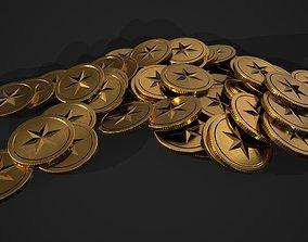 3D asset gold coin - star design A