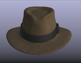 Indiana Jones Brown Stylish Fedora Hat 3D model low-poly