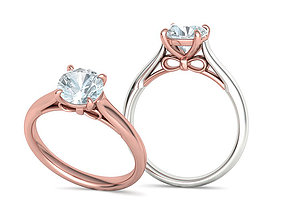 Bow design Classic Engagement ring 7mm Stone 4prong 1