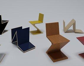 Gerrit T Rietveld Cassina Zig Zag chair 3D model
