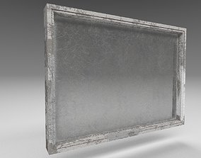 Dirty low poly simple window with scratched glass 3D asset