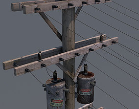 3D Utility Power Pole - Architectural and gaming 1