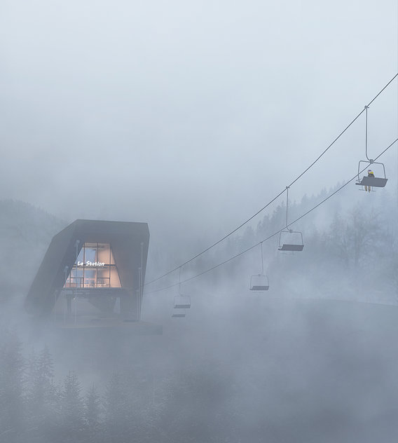 Chair lift in a foggy morning