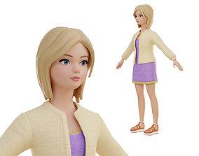 Stylized girl blonde 3D asset