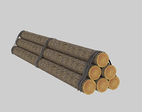 Wooden Logs Low-poly 3D model game-ready