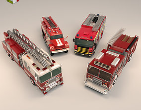 Low Poly Fire Truck Pack 3D