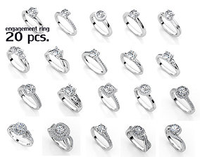 ENGAGEMENT SET 20 RINGS 3D printable model