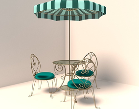 French Cafe Table and Chairs 3D model