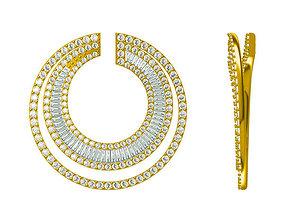 Gold chain necklace baguette cut 3D printable model 1