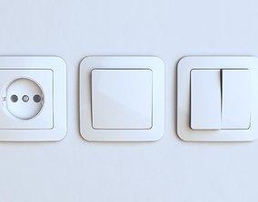 3D model EU wall socket and light switch FREE
