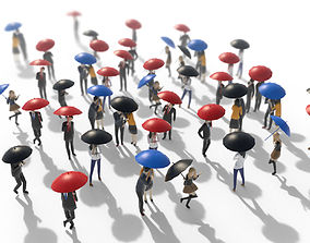 3D asset Low Poly People Holding Umbrella Pack Vol 1