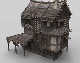 3D model low-poly Medieval house fantasy 13