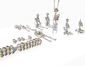 Skeletons and bones pack PBR 3D asset game-ready