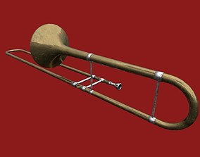 Tenor Trombone - rigged 3D model