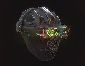 low-poly Low poly sci fi holo helmet character asset