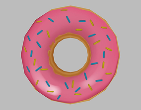 Low-Poly Hand Painted Doughnut 3D model