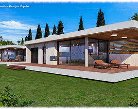 modern mobile home vacation house with swimming 3D asset