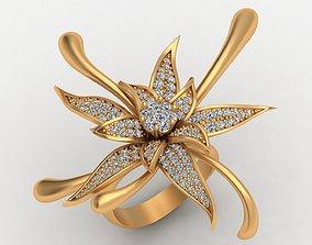 3D printable model Big Rose Flower Diamond Gold Ring
