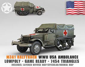 Low Poly M3A1 Halftrack Ambulance 3D model