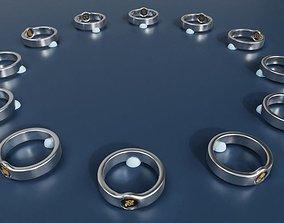 3D model Zodiac rings set