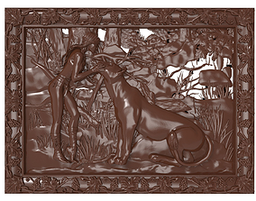 Girl and lioness bas relief for CNC 3D printable model