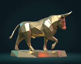 Bull sculpture lowpoly 3D printable model