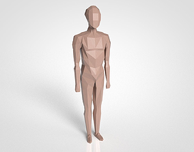LowPoly basic character rigged 3D asset low-poly