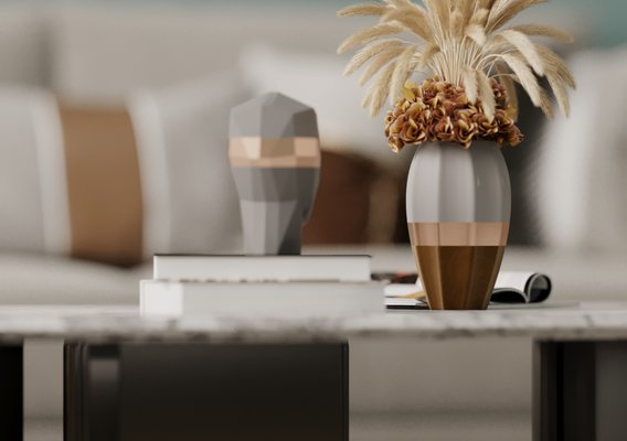 living room interior design vase scene.