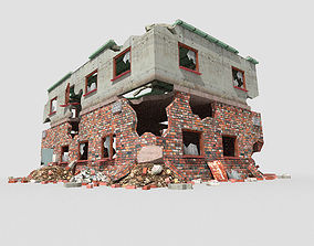 3D asset low poly destroyed building 4