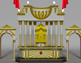 3D asset christian church decorated stage