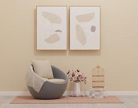 3D Wicker Chair swivel