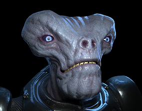 Alien humanoid in an armored suit 3D model