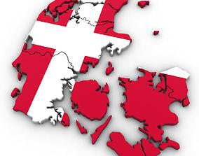 3d Political Map of Denmark