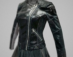 3D asset All black Womans leather outfit