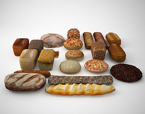 Breads rolls and bakery elements 3D asset