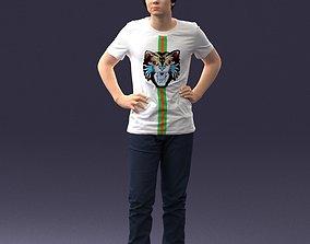 Teenager in tiger shirt 0303 3D Print Ready school