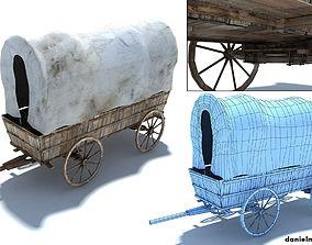Low Poly Wild West Vagon 3D asset