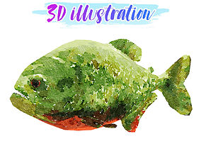 Low Poly Piranha Illustration Animated - Game 3D asset