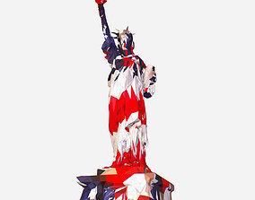 3D model Low Polygon Art USA color Liberty Statue