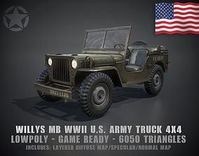3D asset Low Poly Willys MB