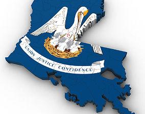 Louisiana Political Map 3D