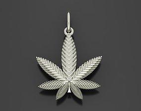 3D printable model Pendant marijuana leaf