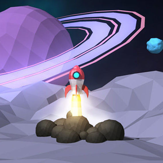 Rocket Ship Space Scene