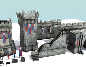 Medieval City Walls - Modular 3D model